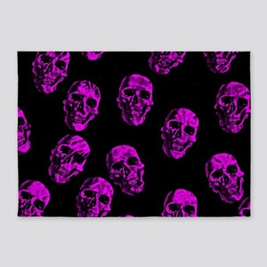 Purple SKULLS 5'x7'Area Rug