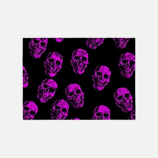 Purple SKULLS 5'x7'Area Rug