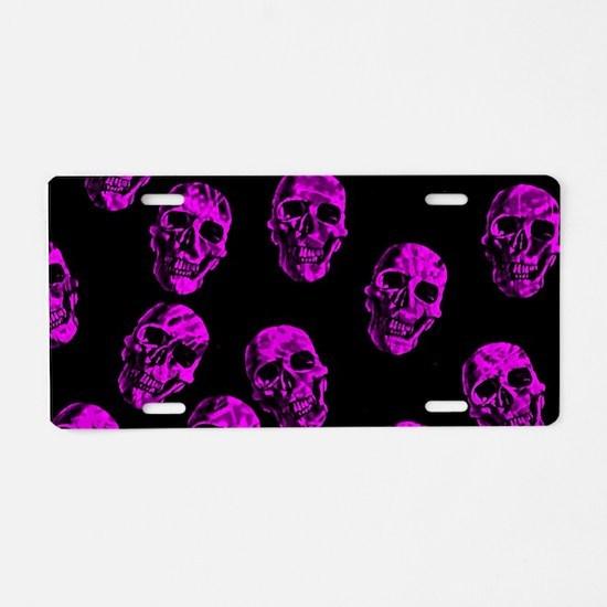 Purple SKULLS Aluminum License Plate