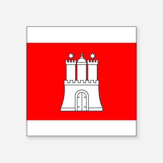 "Cute Hamburg state flag Square Sticker 3"" x 3"""
