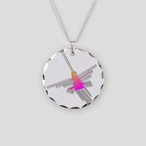 Flying Nazca Lines Hummingbi Necklace Circle Charm