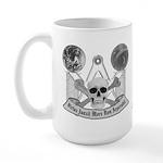 Masonic virtue in black and white Large Mug