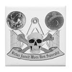 Masonic virtue in black and white Tile Coaster