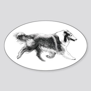 Running Collie Oval Sticker