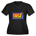 Stop Terrorism Women's Plus Size V-Neck Dark T-Shi