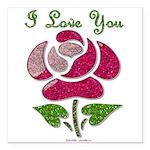 I Love You Rose Square Car Magnet 3