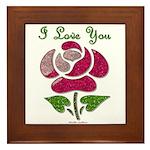 I Love You Rose Framed Tile