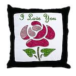 I Love You Rose Throw Pillow