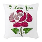 I Love You Rose Woven Throw Pillow