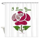 I Love You Rose Shower Curtain