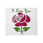 I Love You Rose Throw Blanket