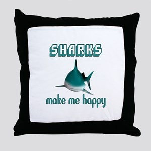 Sharks Make Me Happy Throw Pillow