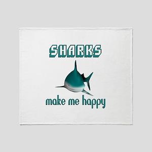 Sharks Make Me Happy Throw Blanket