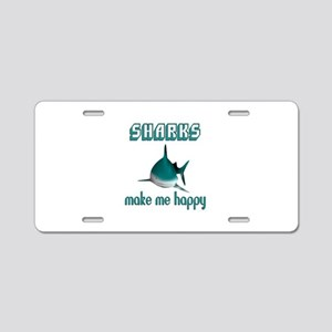 Sharks Make Me Happy Aluminum License Plate