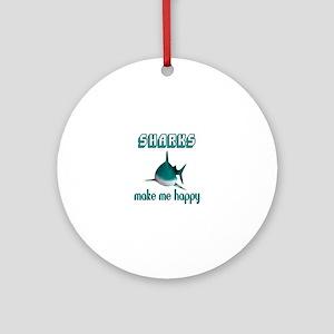 Sharks Make Me Happy Round Ornament