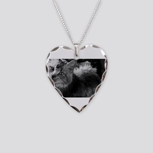 norwegian forest cat bw pic Necklace