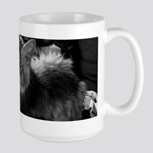 norwegian forest cat bw pic Mugs