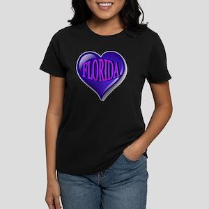 FLORIDA Blue Diamond Heart Women's Dark T-Shirt