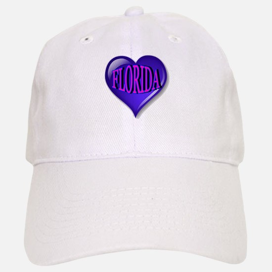 FLORIDA Blue Diamond Heart Baseball Baseball Cap