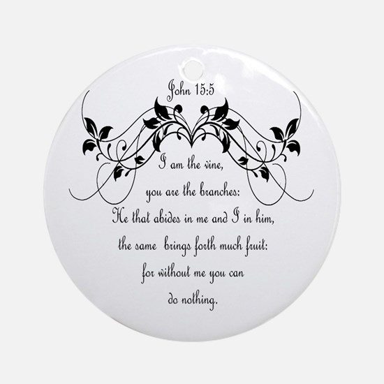 I Am The Vine Bible Scripture Ornament (round)
