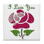 I Love You Rose Tile Coaster