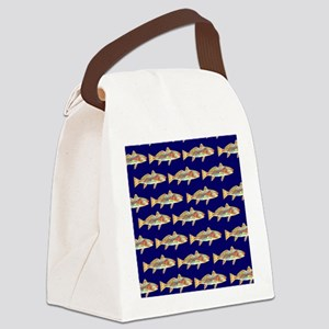 redfish bright blue pattern Canvas Lunch Bag