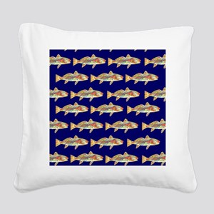 redfish bright blue pattern Square Canvas Pillow