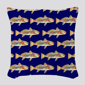 redfish bright blue pattern Woven Throw Pillow