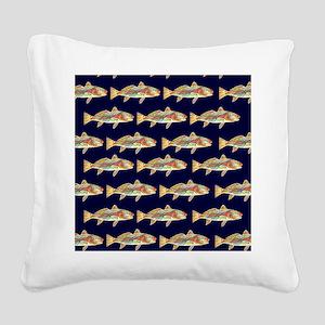 redfish dark blue pattern Square Canvas Pillow