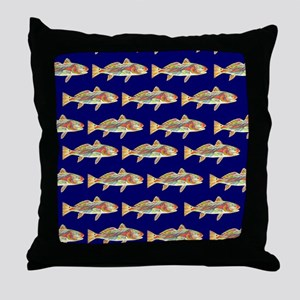redfish bright blue pattern Throw Pillow