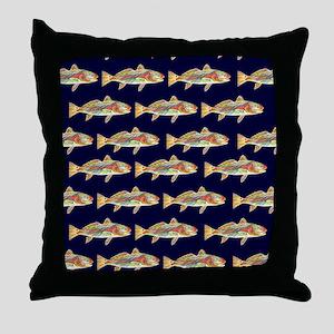 redfish dark blue pattern Throw Pillow
