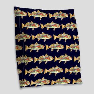 redfish dark blue pattern Burlap Throw Pillow