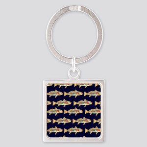 redfish dark blue pattern Square Keychain