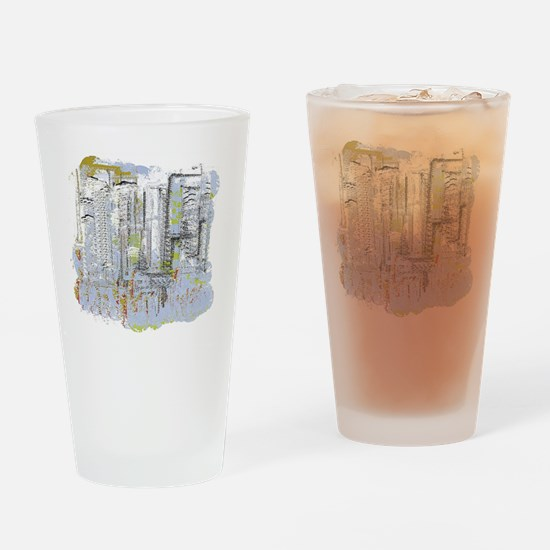 City in Blue, Gold, Green Drinking Glass