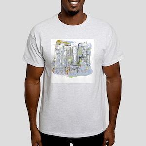 City in Blue, Gold, Green Light T-Shirt
