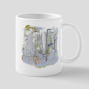 City in Blue, Gold, Green Mug