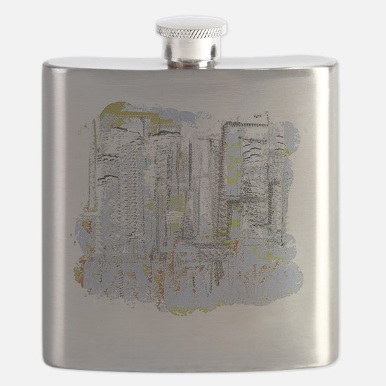 City in Blue, Gold, Green Flask