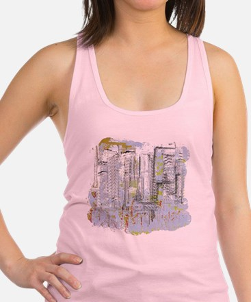 City in Blue, Gold, Green Racerback Tank Top