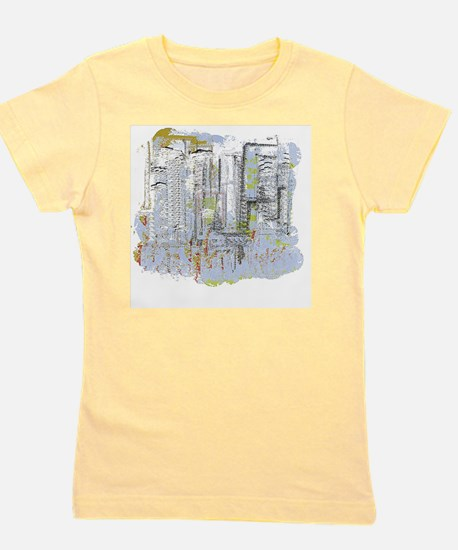 City in Blue, Gold, Green Girl's Tee