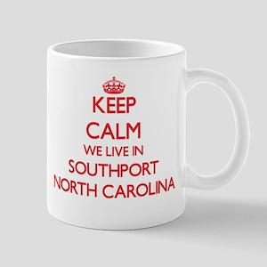 Keep calm we live in Southport North Carolina Mugs