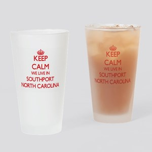 Keep calm we live in Southport Nort Drinking Glass