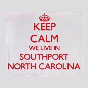 Keep calm we live in Southport North Throw Blanket