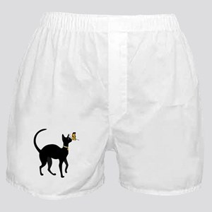 Elegant Black Cat with Gold Collar B Boxer Shorts