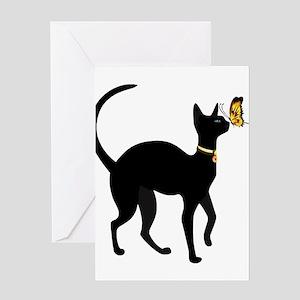 Elegant Black Cat with Gold Collar Greeting Cards