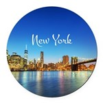 New York Round Car Magnet