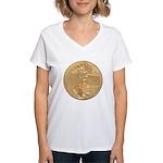 Gold Liberty 1986 Women's V-Neck T-Shirt