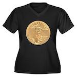 Gold Liberty 1986 Women's Plus Size V-Neck Dark T-