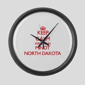 Keep calm we live in Minot North Large Wall Clock