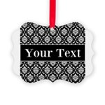 Personalizable Black White Damask Ornament