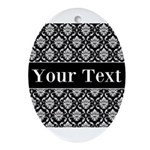 Personalizable Black White Damask Ornament (Oval)